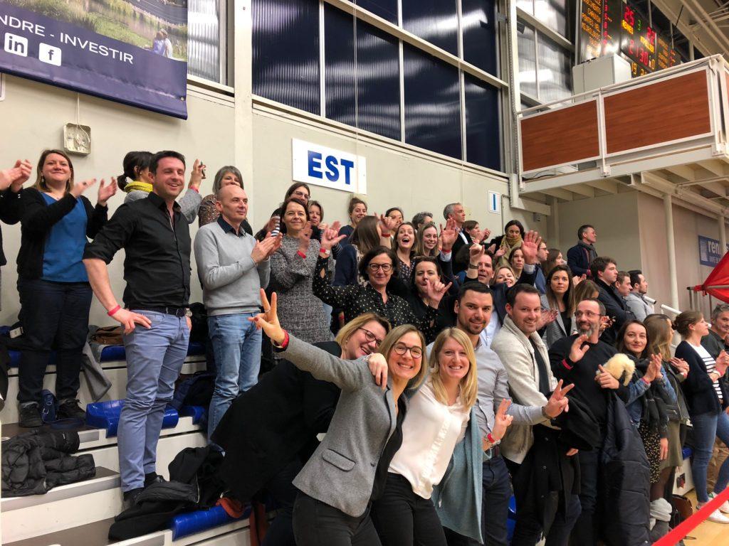 Joie collective après la victoire du Rennes Volley 35