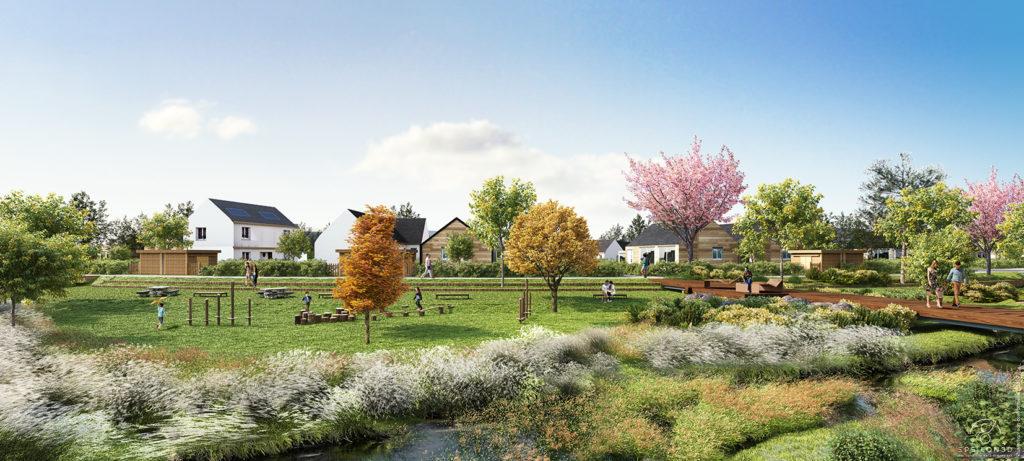 Lotissement Les Coteaux de la Viennais - Vue des espaces paysagers Epsilon 3D