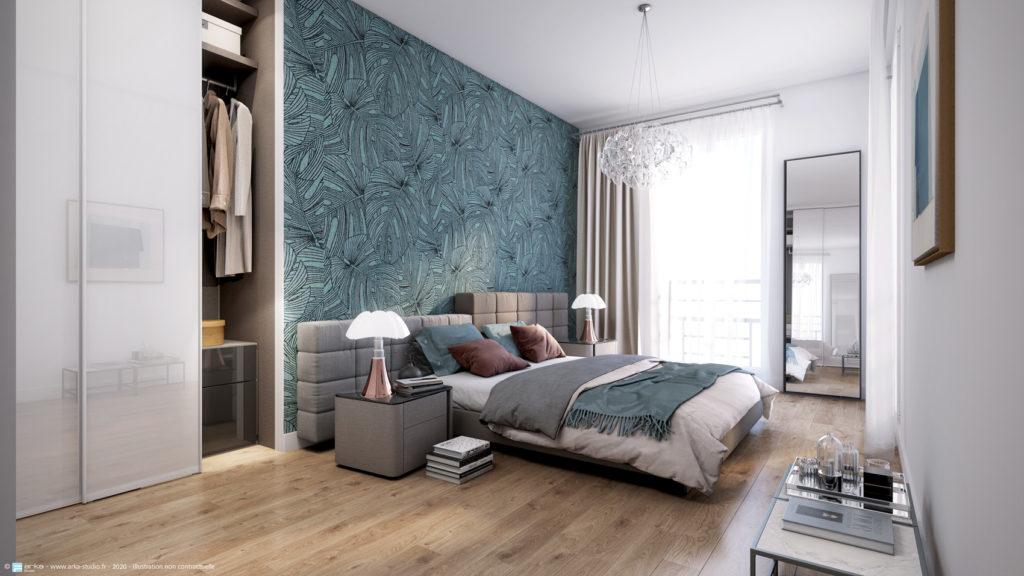 Chambre d'un appartement de la résidence